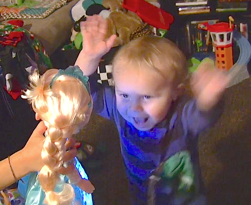 "Watch 'Frozen''s Queen Elsa inspire this toddler to throw his hands up and ""Let It Go"""