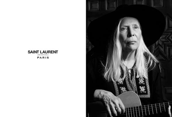 Joni Mitchell models for Saint Laurent—it's officially an epic week for fashion
