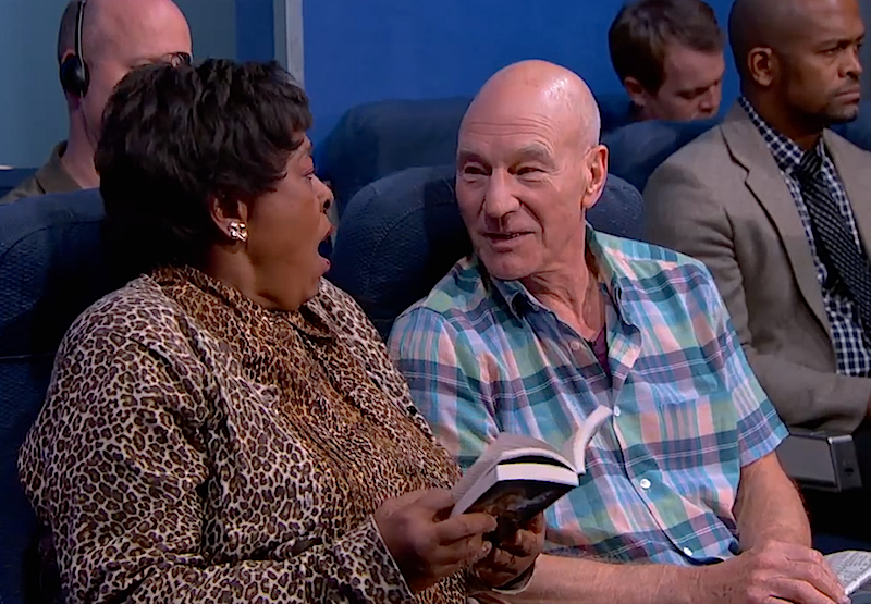 Watch Patrick Stewart act out the most annoying airplane passengers to sit next to