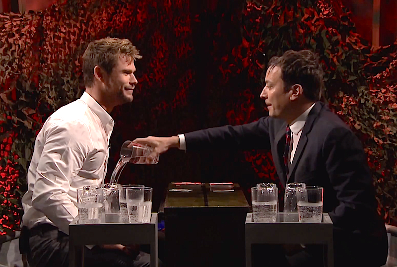 Jimmy Fallon and Chris Hemsworth face off in a game of 'Water War', we all win