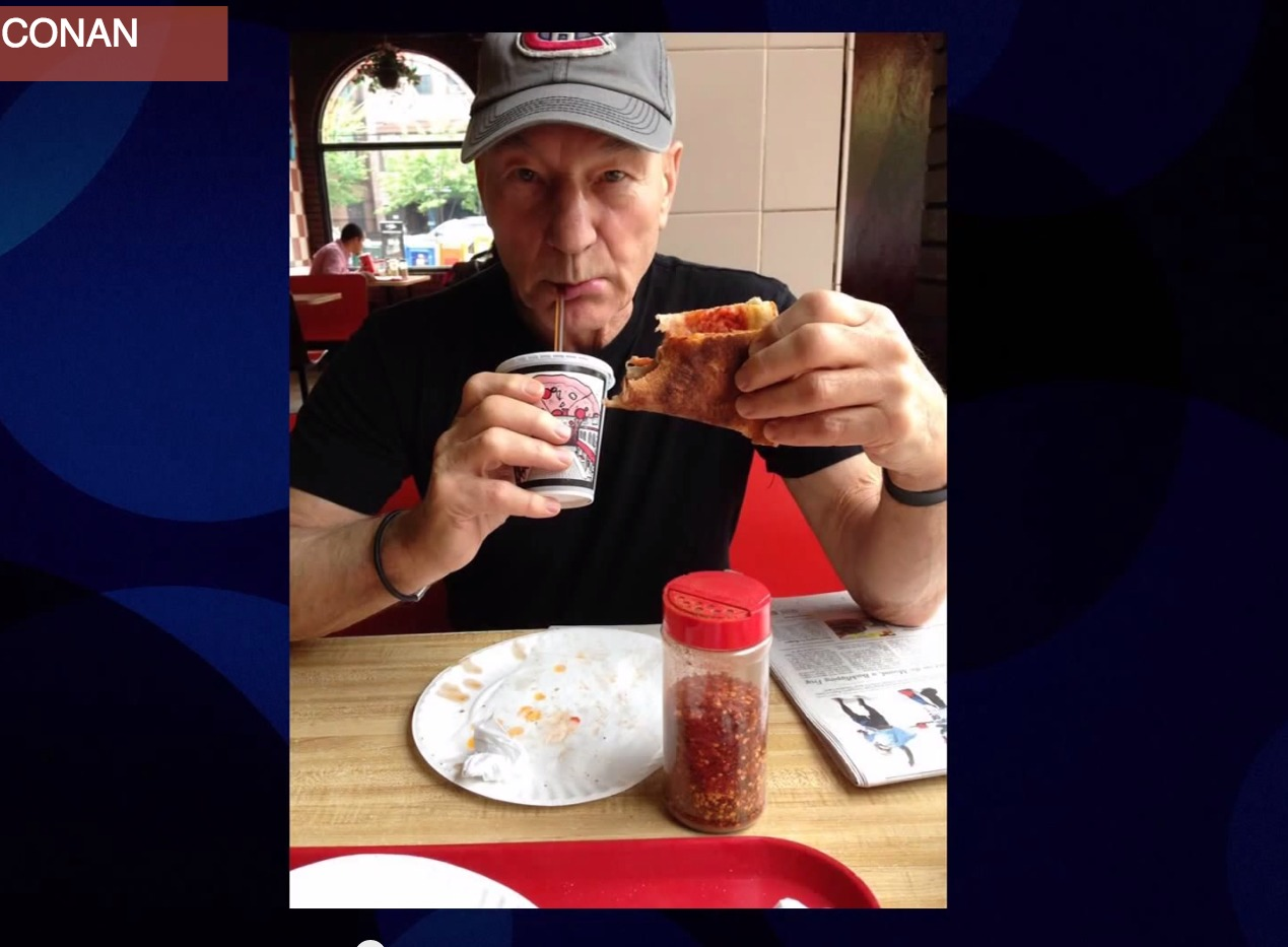 Sir Patrick Stewart has never had a slice of pizza before. GASP