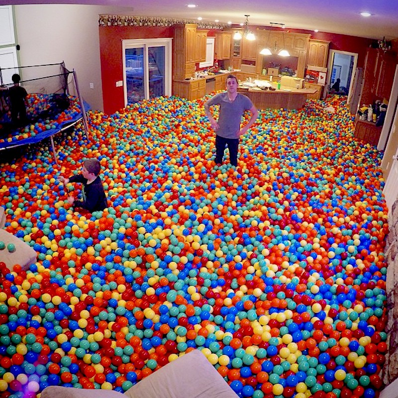 Youtube prankster turns his home into a massive ball pit to surprise his girlfriend