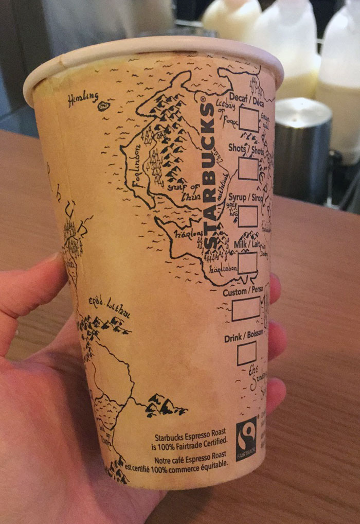 A 'LOTR' fan drew an insanely detailed Middle-earth map on a Starbucks cup, because beauty