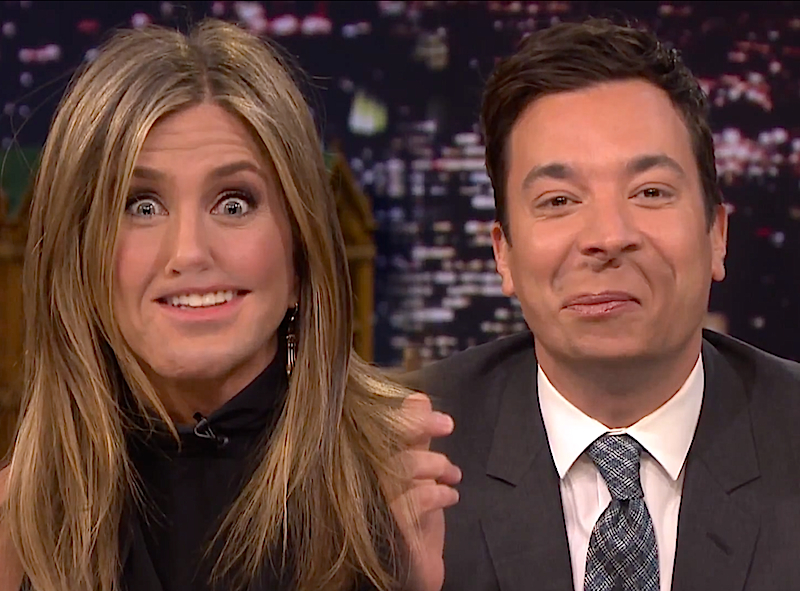 Lip Flip: Jennifer Aniston is swapping with lips with Jimmy Fallon