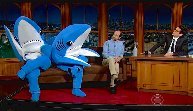 John Mayer interviews our fave Superbowl sharks on 'The Late Late Show'