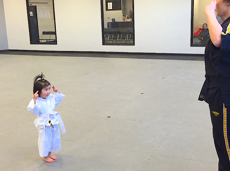 Toddler reciting her martial arts student creed will brighten your day!