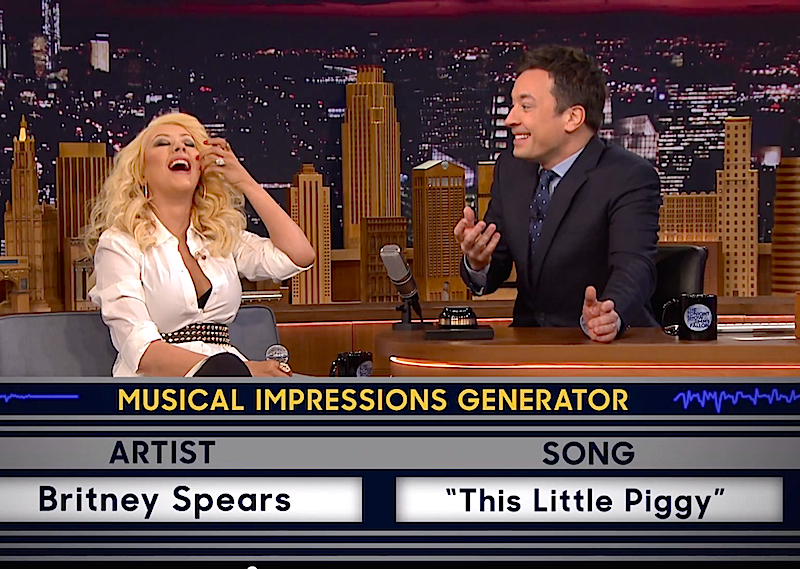 Watch Christina Aguilera do musical impressions of Britney Spears, Cher & Shakira!