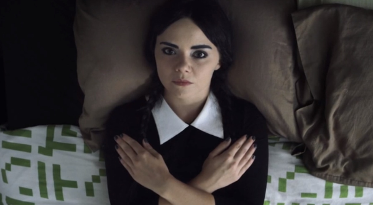 Talking with the real Adult Wednesday Addams. Yes, we're obsessed with her.