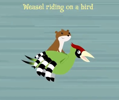 The weasel-on-a-woodpecker photo inspired a cartoon music video, obviously