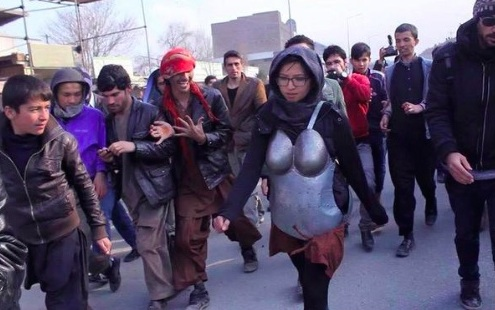 An Afghan artist wore literal body armor to protest street harassment
