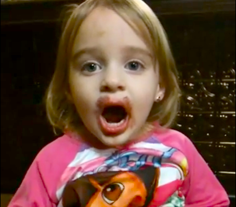 Despite how it looks, this toddler is sure she didn't touch her mom's lipstick