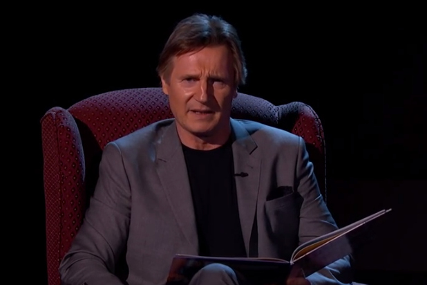 Liam Neeson reads a bedtime story on Jimmy Kimmel—and now we'll never go to sleep again