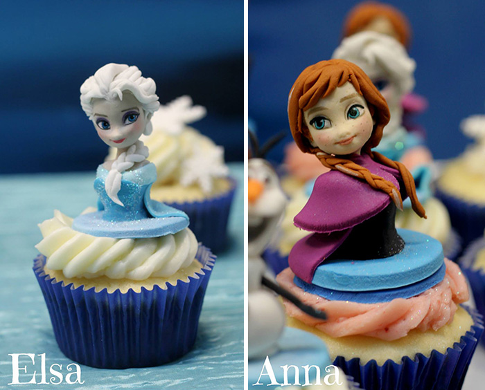 These cartoon character cupcakes are cute, edible works of art