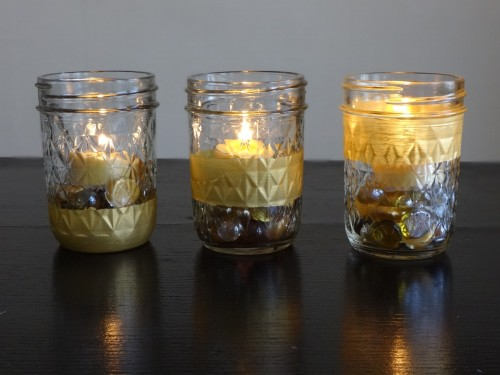 Upcycle glass jars into sparkling candle holders
