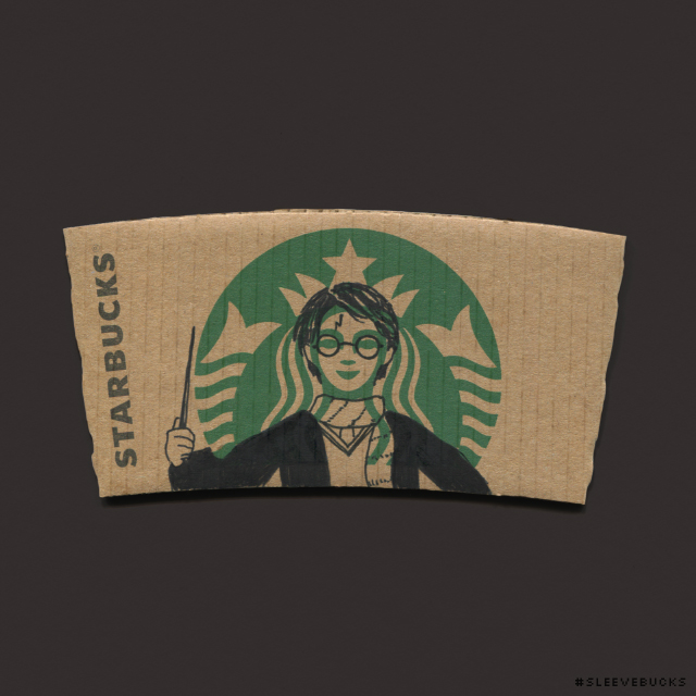 This Starbucks coffee sleeve pop art is so amazing