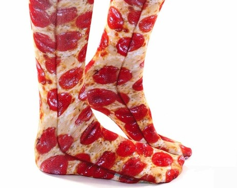 Keep your knees toasty with pizza socks!