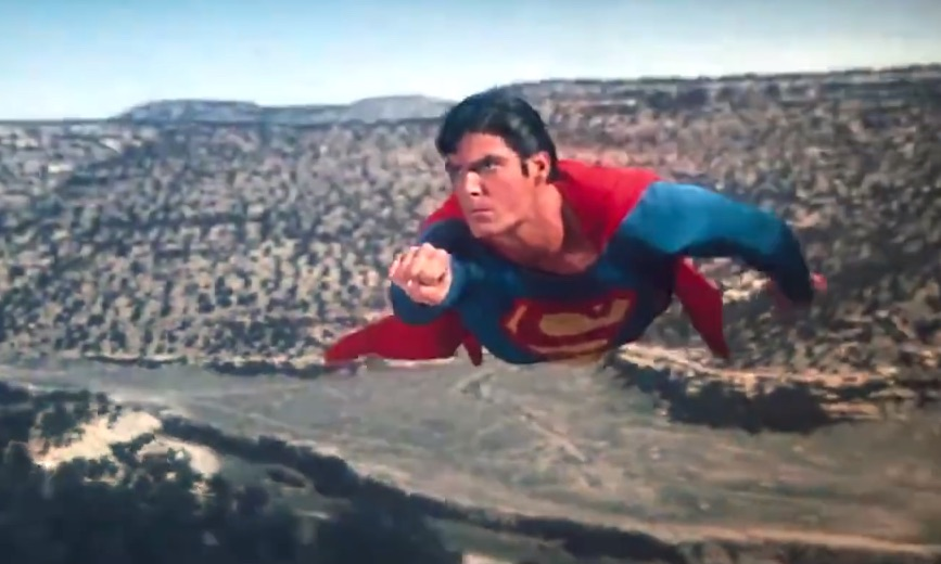 The late, great Christopher Reeve returns for this retro 'Batman v Superman' mashup