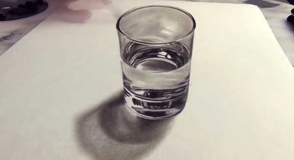 These 3D optical illusions of a glass of water will boggle your brain