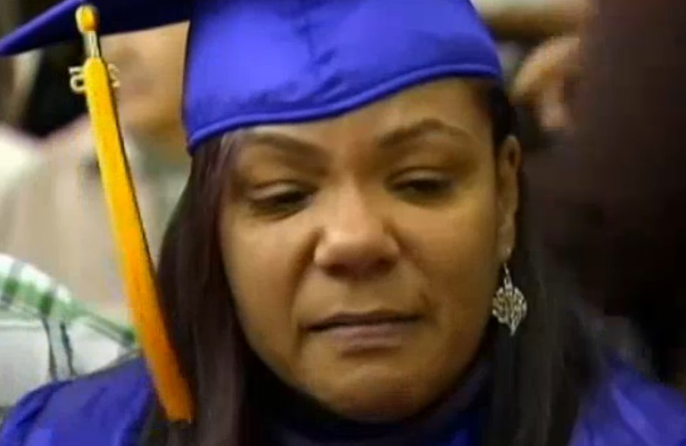 Drying our eyes over this incredible mom who walked for her son at graduation