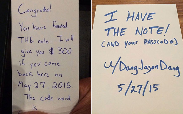 Mystery note promised guy $300 to sit in a café all day. Here's what happened.