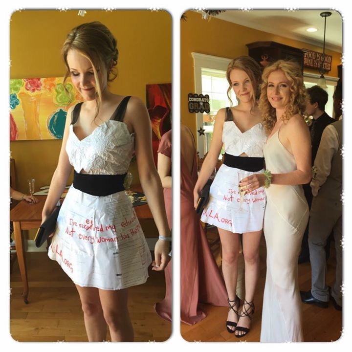 This senior made her grad dress out of homework for the BEST reason
