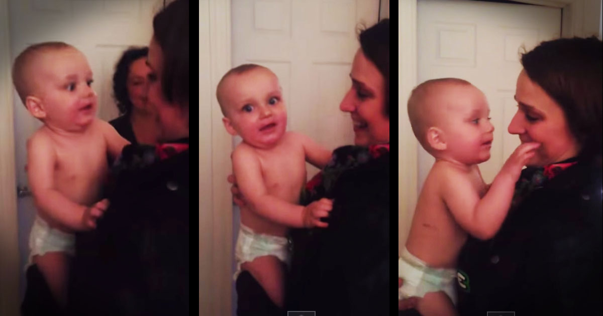 Baby meets his mom's twin annnnd yeah. It's adorable.
