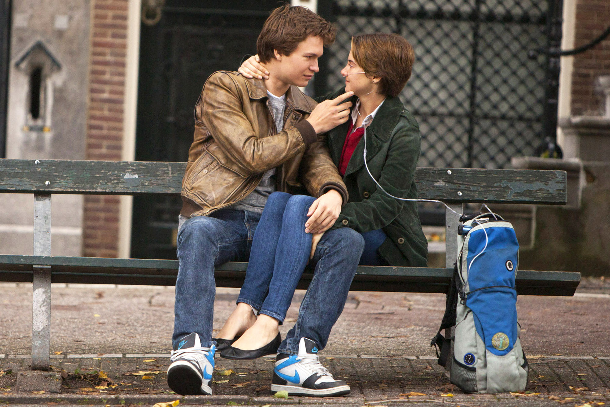 This image released by 20th Century Fox shows Ansel Elgort, left, and Shailene Woodley appear in a scene from  The Fault In Our Stars.  (AP Photo/20th Century Fox, James Bridges)