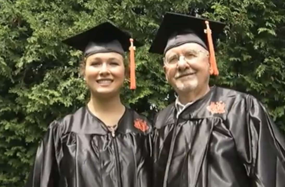 Just amazing: 17-year-old graduates with her great-grandad