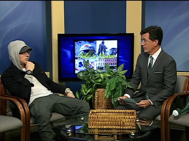 Stephen Colbert interviewed Eminem on public access, and it was wonderful