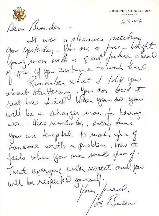 Joe Biden's inspiring letter to a kid with a stutter made all the difference