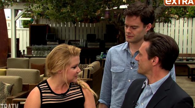 Jon Hamm pretends to be Amy Schumer's co-star. Bill Hader no likey.