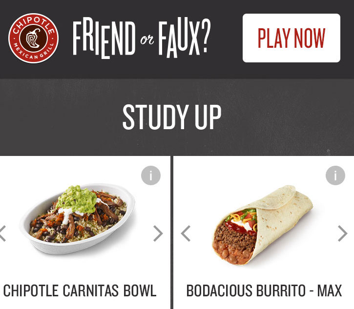 BRB, playing this game to win a Chipotle burrito