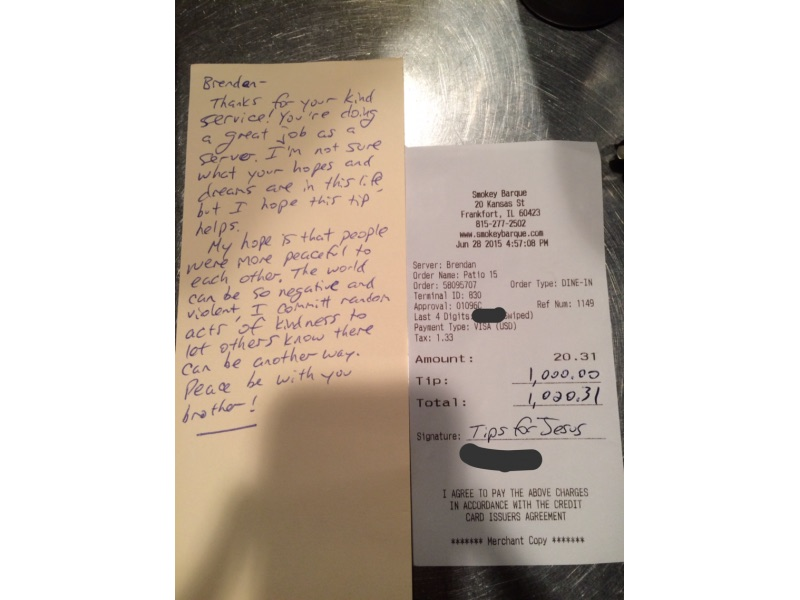 This restaurant server landed a surprise $1,000 tip—and the sweetest reason why