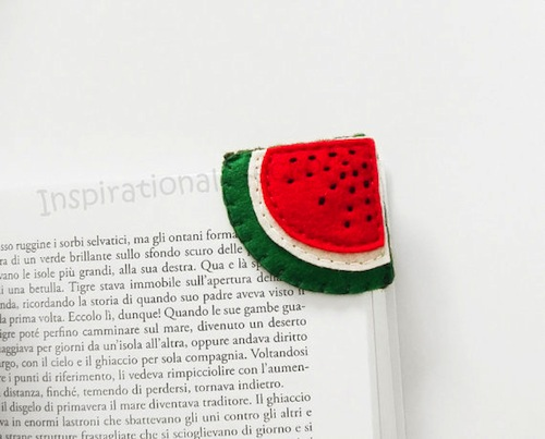 Tiny perfect food-themed bookmarks that we love, love, love