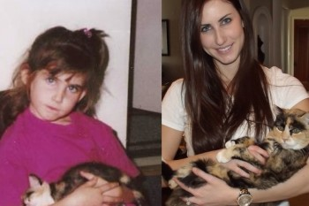 Almost 20 years later, humans recreate vintage pics with their cat besties