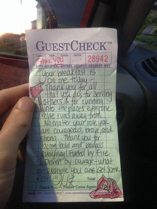 Waitress gives firefighters a receipt that swells our hearts—and then something incredible happens