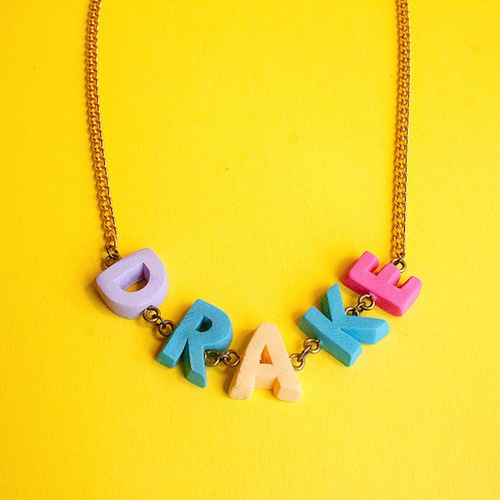 Express yourself with a colorful custom letter necklace