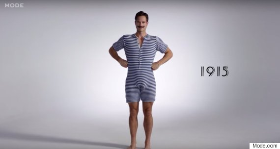 Want to see 100 years of men's bathing suits in 3 minutes? Here you go.