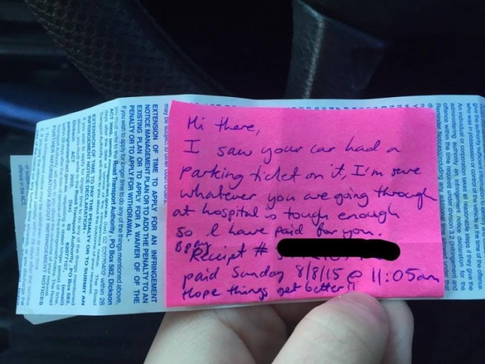 A hospital gave this new mom a parking ticket —so a stranger stepped in