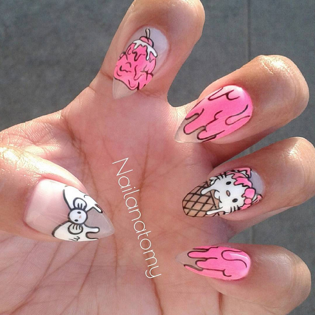 Nails of the Day: Hello Kitty ice cream!