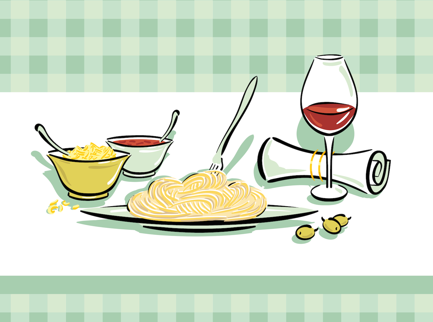 Wine + pasta = happiest meal ever
