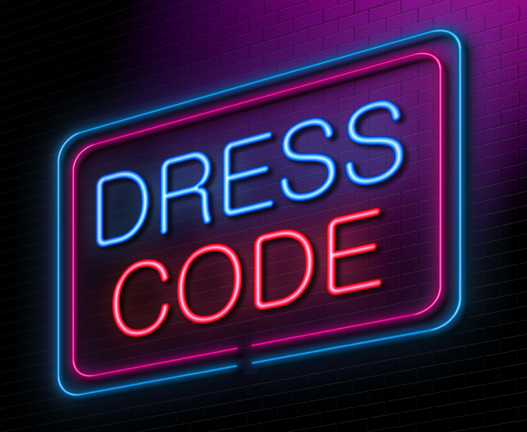 Illustration depicting an illuminated neon sign with a dress code concept.