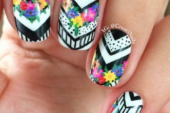 Nails of the Day: Blooming chevrons