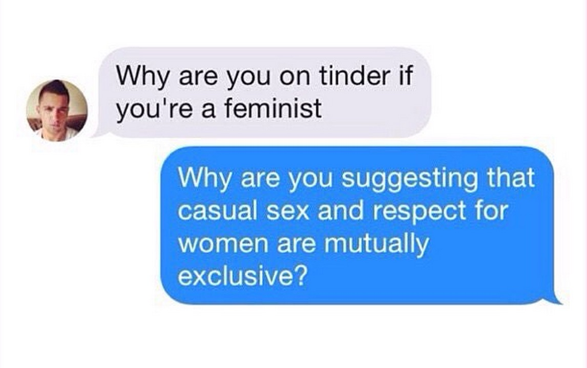 """What happens when you include """"feminist"""" on your Tinder profile"""