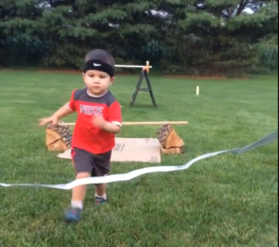 World's youngest ninja adorably crushes this homemade obstacle course