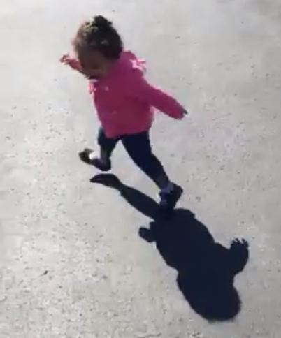 "This toddler is terrified of her own shadow and it's too ""awwww"" for words"