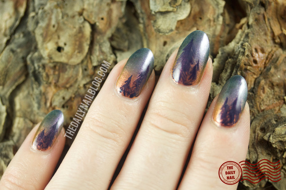 Nails of the Day: Sunrise over the pines