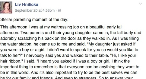 Why a transgender waitress' powerful Facebook post is going viral