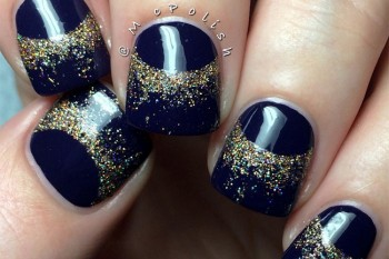 Nails of the Day: Cosmic dust half moons
