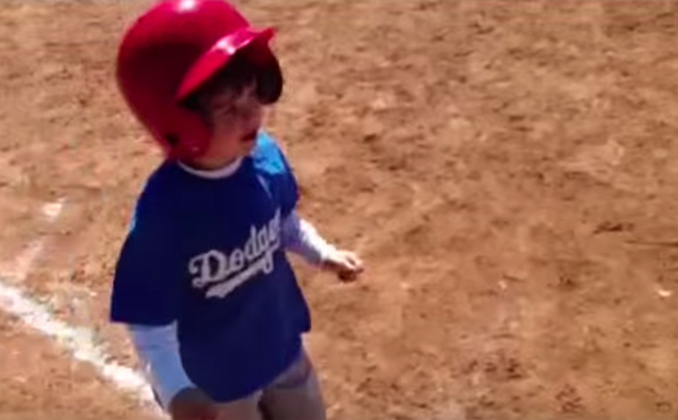 "This little baseball playing dude had to take an extra second at first base to tell his dad/coach ""I love you"""